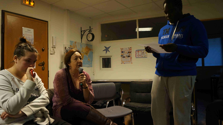 Mohamed, Ingrid de l'association ADS et Laurie